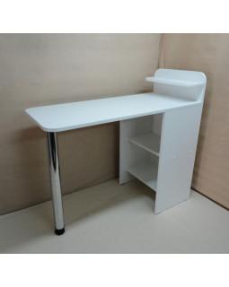 Маникюрный стол Лайт, сплошная столешница, цвет белый